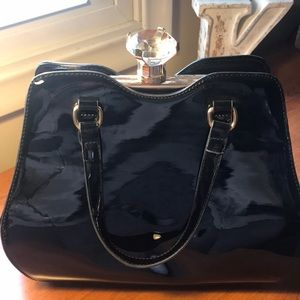 Gorgeous patent leather bag with big diamond stone